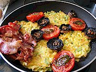 Pasta Fritters, Bacon, Slow Roasted Tomatoes and Mushrooms - photo S Courtney
